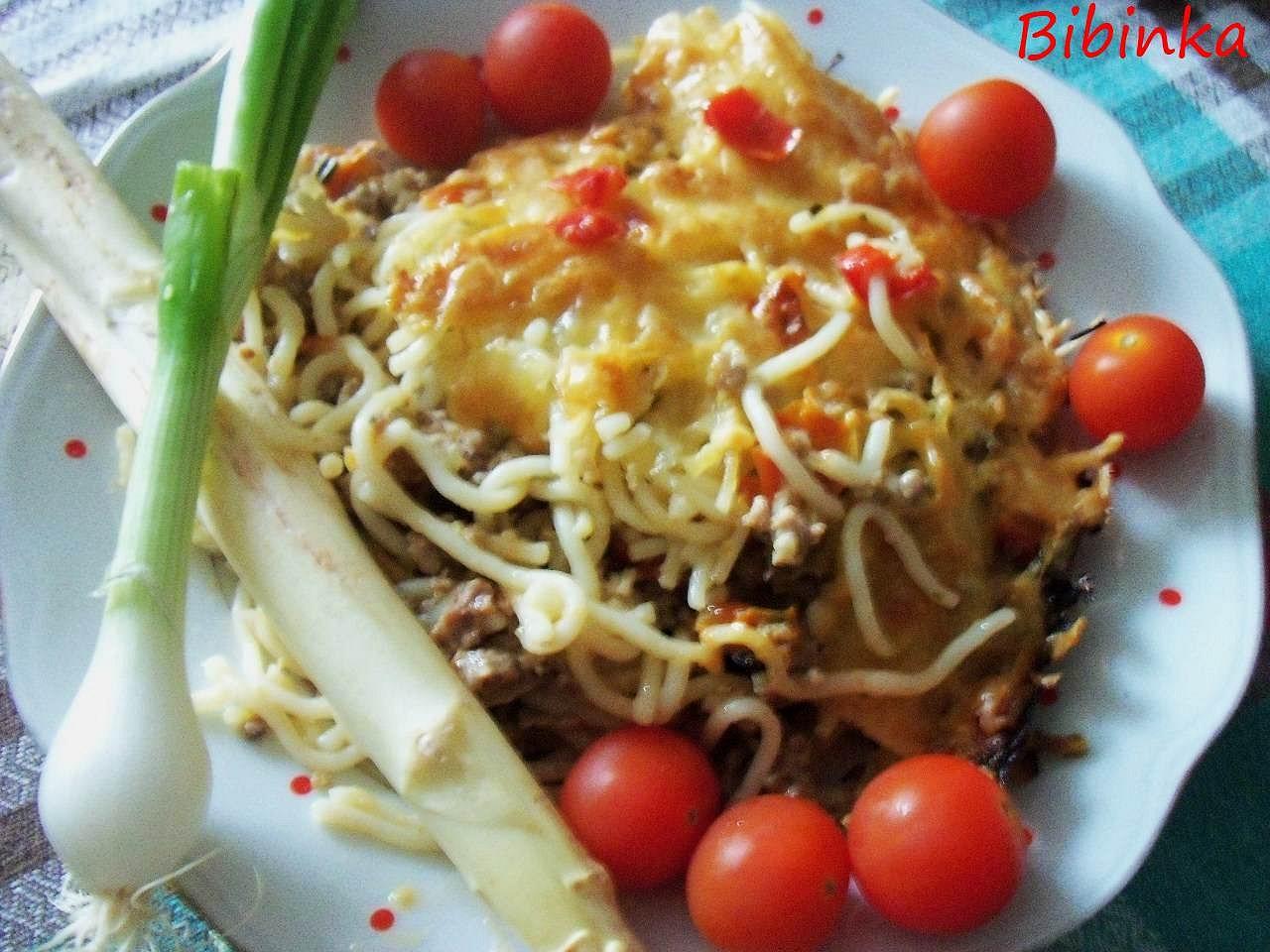 Špagety zapečené nejen s chřestem